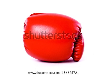 Boxing Gloves Red Leather Isolated on white background. - stock photo