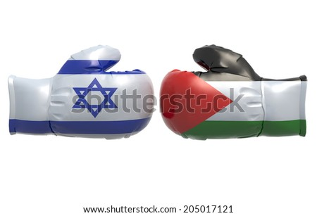Boxing gloves with Israel and Palestine flag, 3d illustration - stock photo