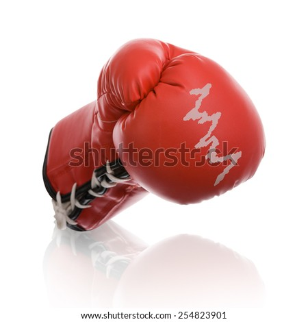 boxing gloves with shares price as a symbol for the stock exchange isolated on white background - stock photo