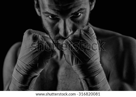 Boxing man ready to fight. Boxing, workout, muscle, strength, power - stock photo
