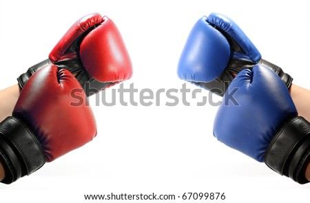 Boxing red and blue gloves - stock photo