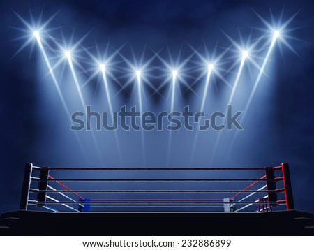 Boxing ring and floodlights , Boxing event arena - stock photo