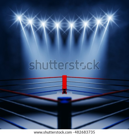 Boxing ring corner and floodlights , Fight night event , 3d illustration