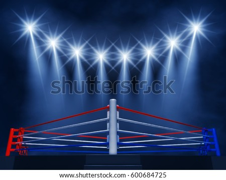 Boxing ring corner and spotlights , Fight night event , 3d illustration