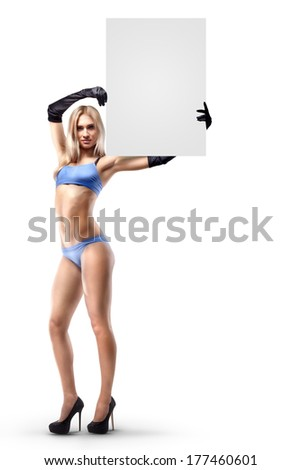 Boxing ring girl holding a board with round number isolated on white background. High resolution  - stock photo