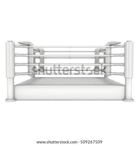 Boxing ring. High resolution 3d render of blank arena isolated on white background.