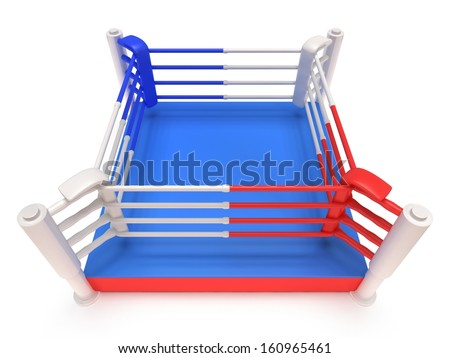 Boxing ring. High resolution 3d render. Sport, competition, match, arena concept. - stock photo
