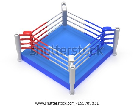 Boxing ring. High resolution 3d render. Sport, competition, match, arena concept.
