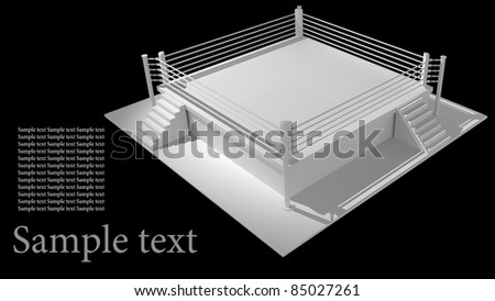 Boxing ring isolated on black background - 3d render high resolution