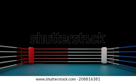 Boxing ring isolated on black background High resolution 3d render  - stock photo