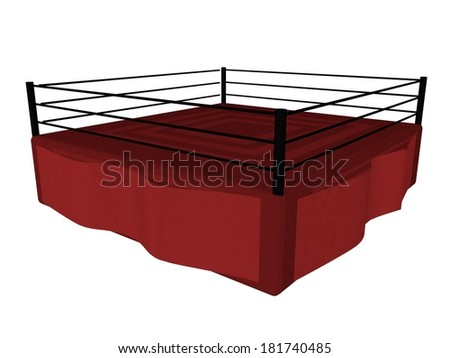 Boxing ring isolated over white, 3d render