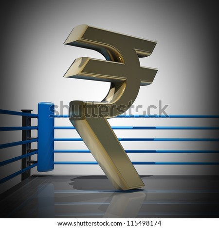 Boxing Ring Indian Rupee Symbol 3 D Stock Illustration 115498174