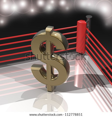 Boxing ring with US dollar symbol 3d render high resolution - stock photo