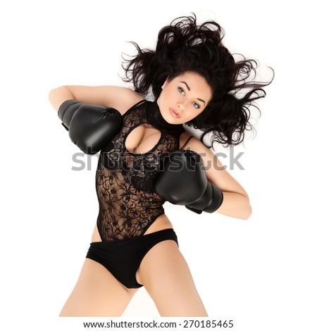 Boxing sexy woman. - stock photo
