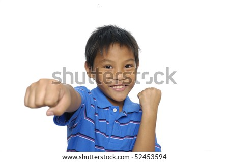Boxing smilly boy isolated on white.
