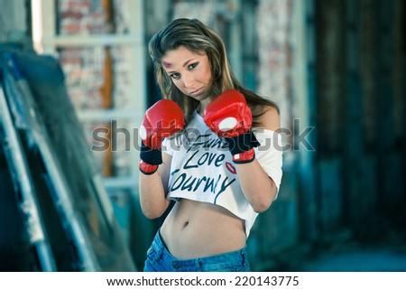 Boxing woman - stock photo