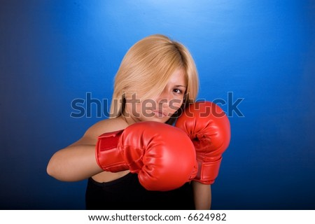 Boxing woman prepare for match.