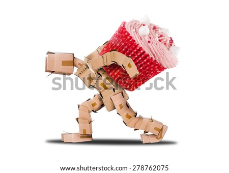 Boxman character carrying a big cup cake on his back for a celebration - stock photo