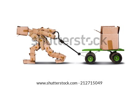Boxman pulling a trolley with a large heavy box, isolated on white background with space for text