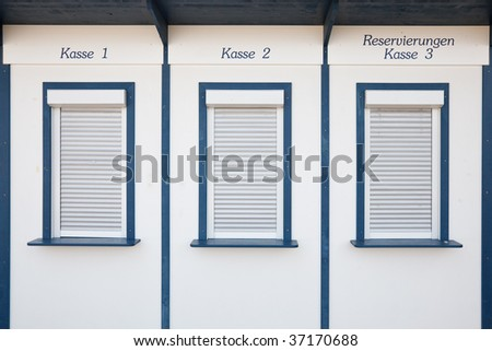 Boxoffice (Kasse) for ticket sale - stock photo