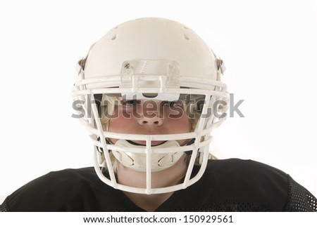boy American football helmet and shoulder pads - stock photo