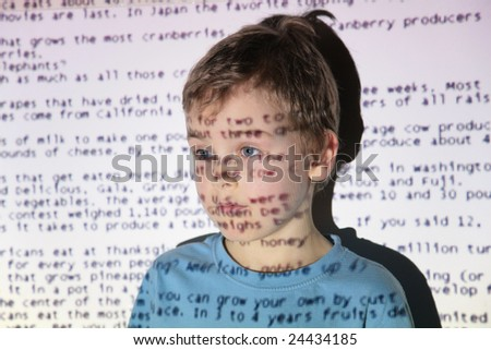 Boy an text projection device - stock photo