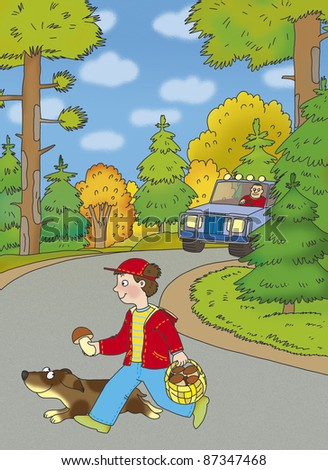boy and a dog run across the road properly - stock photo
