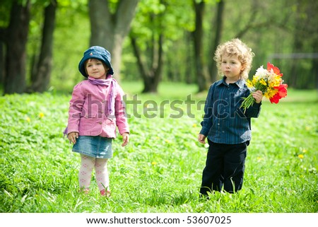boy and a girl on a rendezvous - stock photo