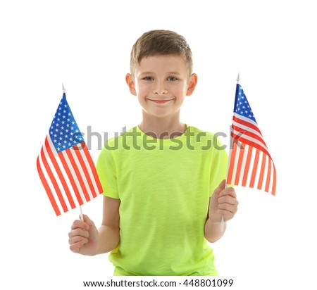 Boy and American flags on white background - stock photo