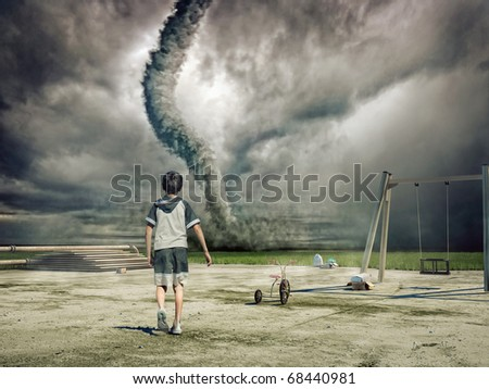 boy and approaching tornado (photo and hand-drawing elements combined) - stock photo