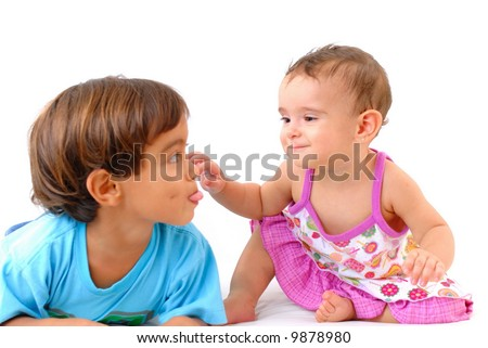 Boy and Baby or Brother and Sister on white background .