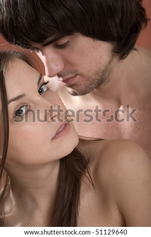Boy and beautiful sexy girl with long hair