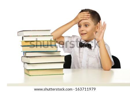 Boy and books, studio, isolated, white background. - stock photo