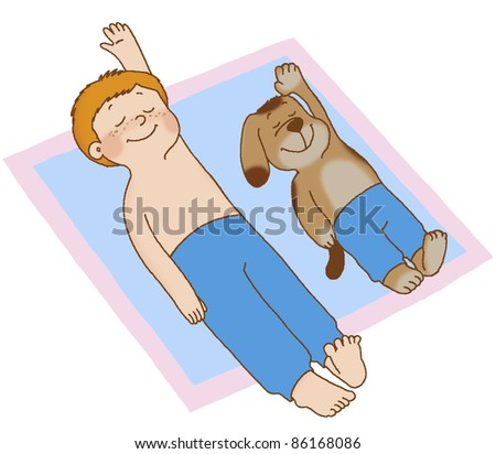 Boy and dog lying on his back, doing gymnastics, placing his hands behind his head - stock photo