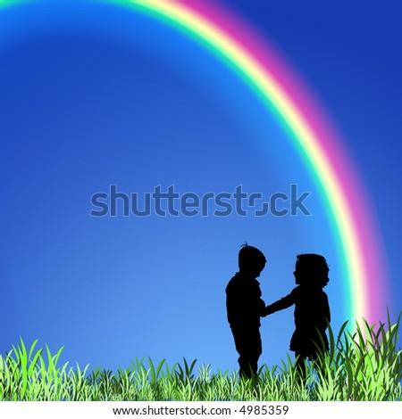 boy and girl beneath a rainbow - stock photo