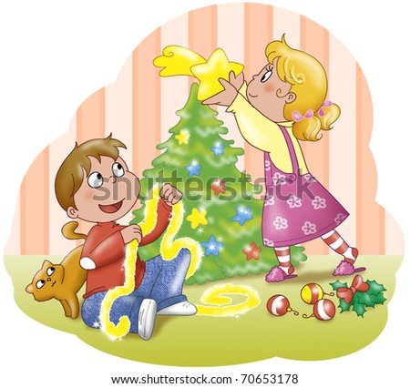 Boy and girl decorating a Christmas tree.
