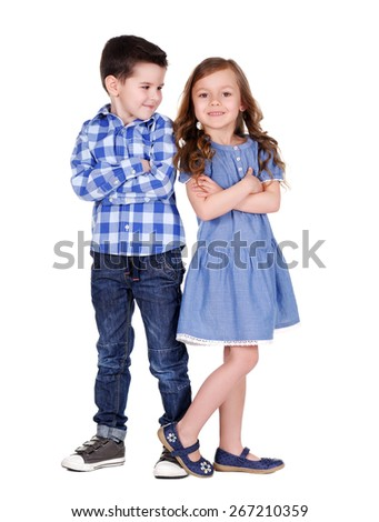 boy and girl  full length portrait - stock photo