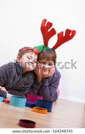 boy and girl having fun at Christmas