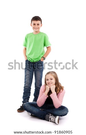 Boy and girl isolated on white background - stock photo