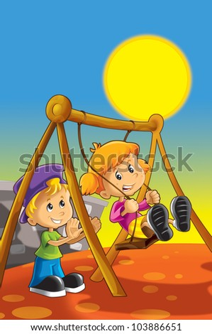 Boy and girl on the swing - stock photo