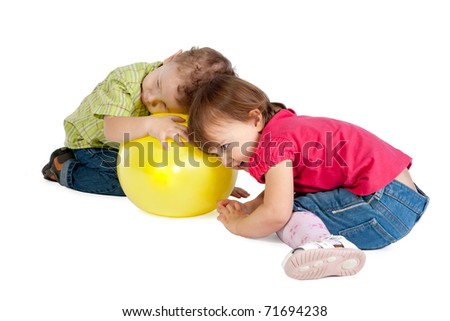 boy and girl playing - stock photo