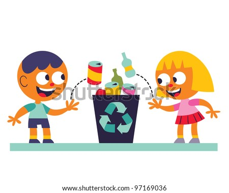 Boy and girl recycling - stock photo