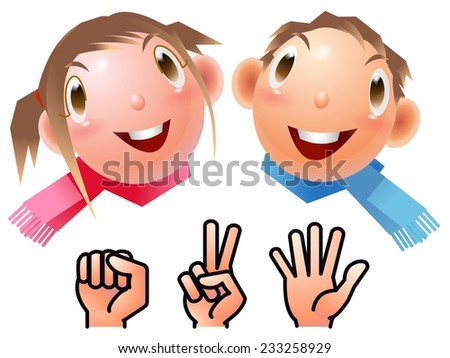 Boy and girl rock-paper-scissors - stock photo