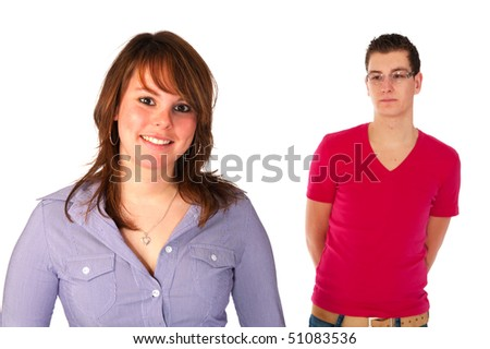 Boy and girl separated different moods over white
