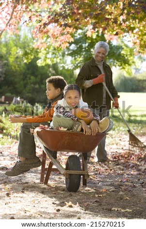 Boy and girl sitting in wheelbarrow in garden, grandmother collecting autumn leaves, smiling, portrait - stock photo