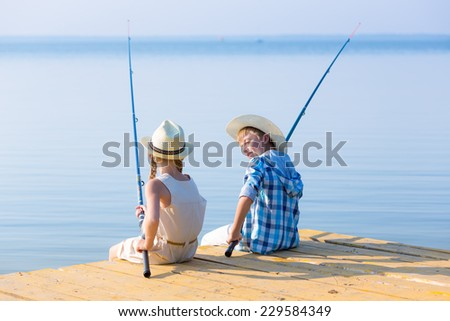 Child little girl fishing boat holding stock photo for Girl fishing pole