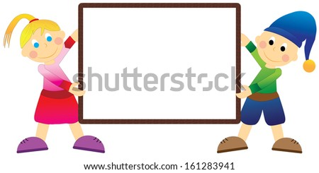 Boy and girl with frame - stock photo