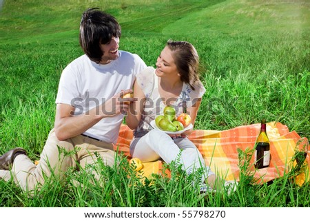 Boy and girl with fruits