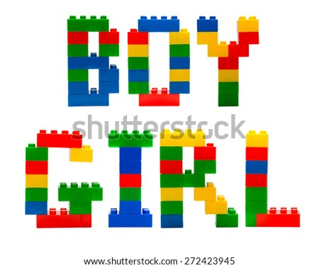 Boy and girl word build from toy building blocks - stock photo