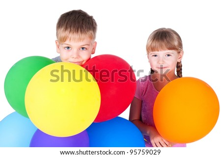 boy and girl 6 years old with colorful balloons isolated on white background - stock photo